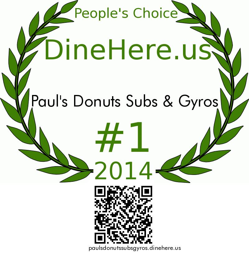 Paul's Donuts Subs & Gyros DineHere.us 2014 Award Winner