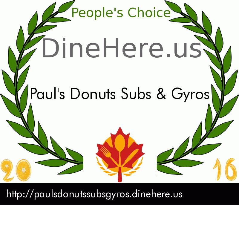 Paul's Donuts Subs & Gyros DineHere.us 2016 Award Winner
